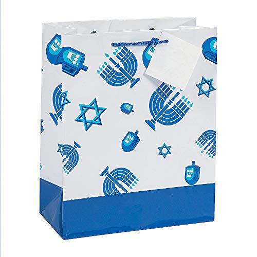 Fun Express - Hanukkah Icons Gift Bag for Hanukkah - Party Supplies - Bags - Paper Gift W & Handles - Hanukkah - 12 Pieces