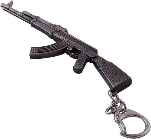 new arrival Mallofusa high quality Miniature Gray Metal Ak47 Assault Rifle Gun Model Keychains Key Rings sale Bag Pendant online sale