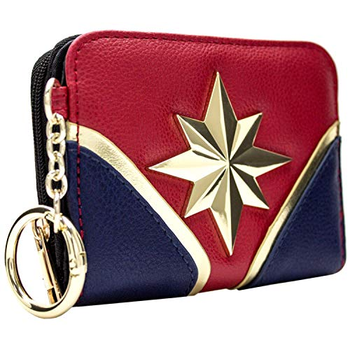 Captain Marvel Carol Danvers Suit Style Coin and Card Clutch Purse Red