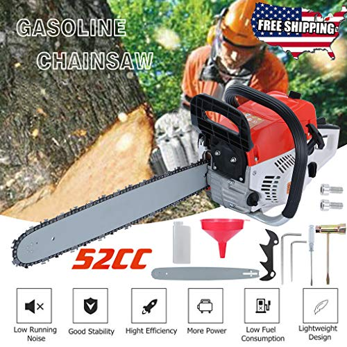 Arrived in 2-7 Days, 52CC 2-Cycle Gas Powered Chainsaw 20 Inch Bar Handheld Gasoline Chainsaw Cordless Petrol Chain Saw Aluminum Crankcase Chainsaw for Farm, Garden and Ranch