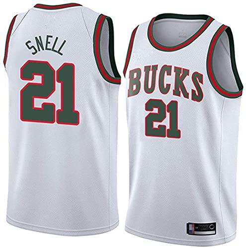 XSJY Jerseys De Baloncesto para Hombres, NBA Milwaukee Bucks # 21 Tony Snell, Chaleco De Secado Rápido, Chaleco Sin Mangas A Prueba De Sudor,Blanco,M:170~175cm/65~75kg