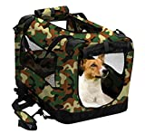 2PET Foldable Dog Crate - Soft, Easy to Fold & Carry Dog Crate for Indoor & Outdoor Use - Comfy Dog Home & Dog Travel Crate - Strong Steel Frame, Washable Fabric Cover (Medium 24in, Disguise Camo)