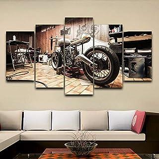 JINFENG صور وحدات 5 قطع لوحة فنية جدارية على قماش كتاني لوحة ريترو للدراجات النارية ملصق ديكور منزلي حديث لغرفة المعيشة (ا...
