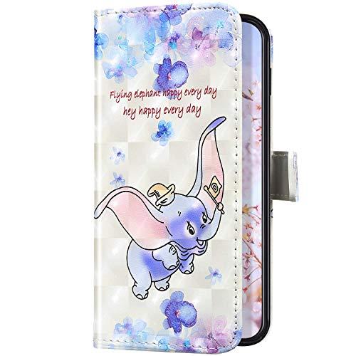Uposao Kompatibel mit iPhone 5S / iPhone SE Handyhülle Leder Schutzhülle Glitzer Bling 3D Klapphülle Flip Case Brieftasche Leder Hülle Bookstyle Wallet Tasche Magnet Kartenfächer,Elefant