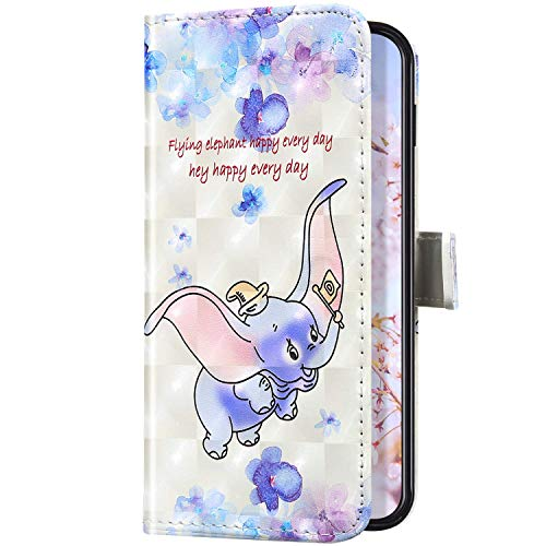 Uposao Kompatibel mit Samsung Galaxy A50S Handyhülle Leder Schutzhülle Glitzer Bling 3D Klapphülle Flip Case Brieftasche Leder Hülle Bookstyle Wallet Tasche Magnet Kartenfächer,Elefant
