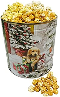 Classic Collectible Gourmet Holiday Popcorn Tin Caramel, White Cheddar, and Butter Popcorn