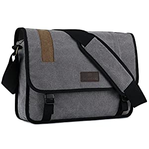 "Plambag Canvas Briefcase Backpack, Convertible 15"" Laptop Messenger Bag"