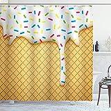 DYCBNESS Rideau de Douche,Dessin animé Alimentaire comme Image de et Fondant Les cônes de crème glacée,Rideau de Douche avec...