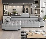 SELVA - Sofá cama esquinero moderno para guardar cualquier color de piel sintética y tela con cara izquierda