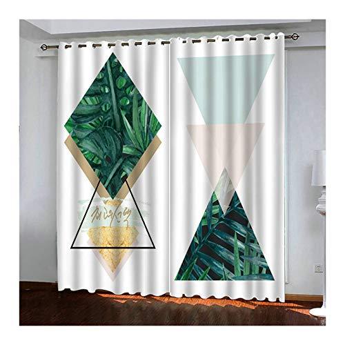 Aeici Wohnzimmer Vorhänge Rhombus-Dreieck Gardinen Vorhänge Verdunkelung Weiß Grün Vorhang 274X244Cm Vorhänge für Zimmer