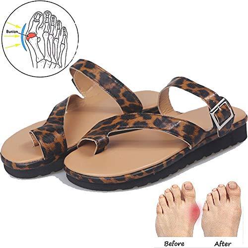 Platte Sandalen Voor Dames Comfortabele Mode Open Teenslipper Bunion Correctie Sandalen Strand Reisschoenen Luipaardprint 35-43,Leopard,43