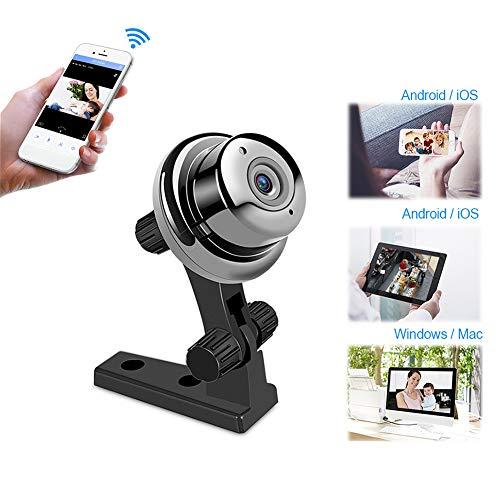 Jjjjy 720P Mini Camera Surveillance WiFi dôme IP avec Vision Nocturne Infrarouge pour bébé/Pet/Nanny Monitor, Noir
