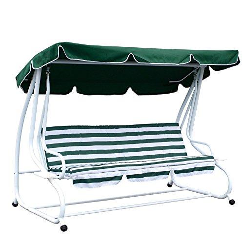 Hollywoodschaukel 4-Sitzer Miami 232x120x164cm weiss/grün Gartenschaukel