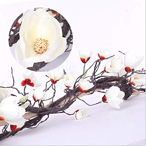 Aly Artificial Flowers Vine, Magnolia Garland, for Wedding Home Garden Party Decor, 3Pcs, White