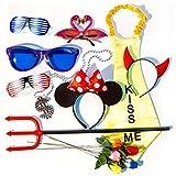 Verkleidung Set PartyHard - 10 Requisiten für Fotos, Fotobox, Hochzeit und Geburtstag - Bunte Party Accessoires - Brillen, Blumen, Teufelshörner, Mausohren, Dollar-Kette, Dreizack (Set...