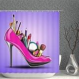 Damen High Heels Duschvorhang Sexy Pretty Girl Hot Pink High Heels Schuhe mit kosmetischem Dekor Lila Stoff Badezimmer Gardinen Wasserdicht Polyester mit Haken 203 x 178 cm