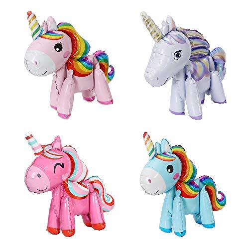 X-BLTU 4er Pack 3D Einhorn Luftballons , Party Folienballon Kinder Kinder Geschenk, Spielzeug Hochzeit, Geburtstagsfeier Babyparty Dekoration Lieferungen