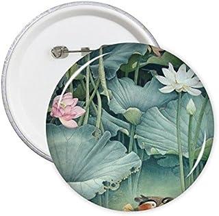 DIYthinker Lotus Rose Bud Green Lotus Feuille Canard mandarin poud Chine Peinture classique Bouton rond Badge Pins Vêtemen...