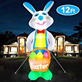 iGeeKid 12 Ft Tall Easter Bunny Inflatables Easter Outdoor Decorations Blow Up LED Lighted Easter Bunny with Eggs and Basket Easter Airblown Decoration Indoor Outdoor Holiday Yard Lawn Decor