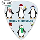Cute Cartoon Penguin Christmas Guitar Picks Plectrums Guitarra acústica Ukulele Picks 0.46 mm, 0.73 mm, 0.96 mm, paquete de 12