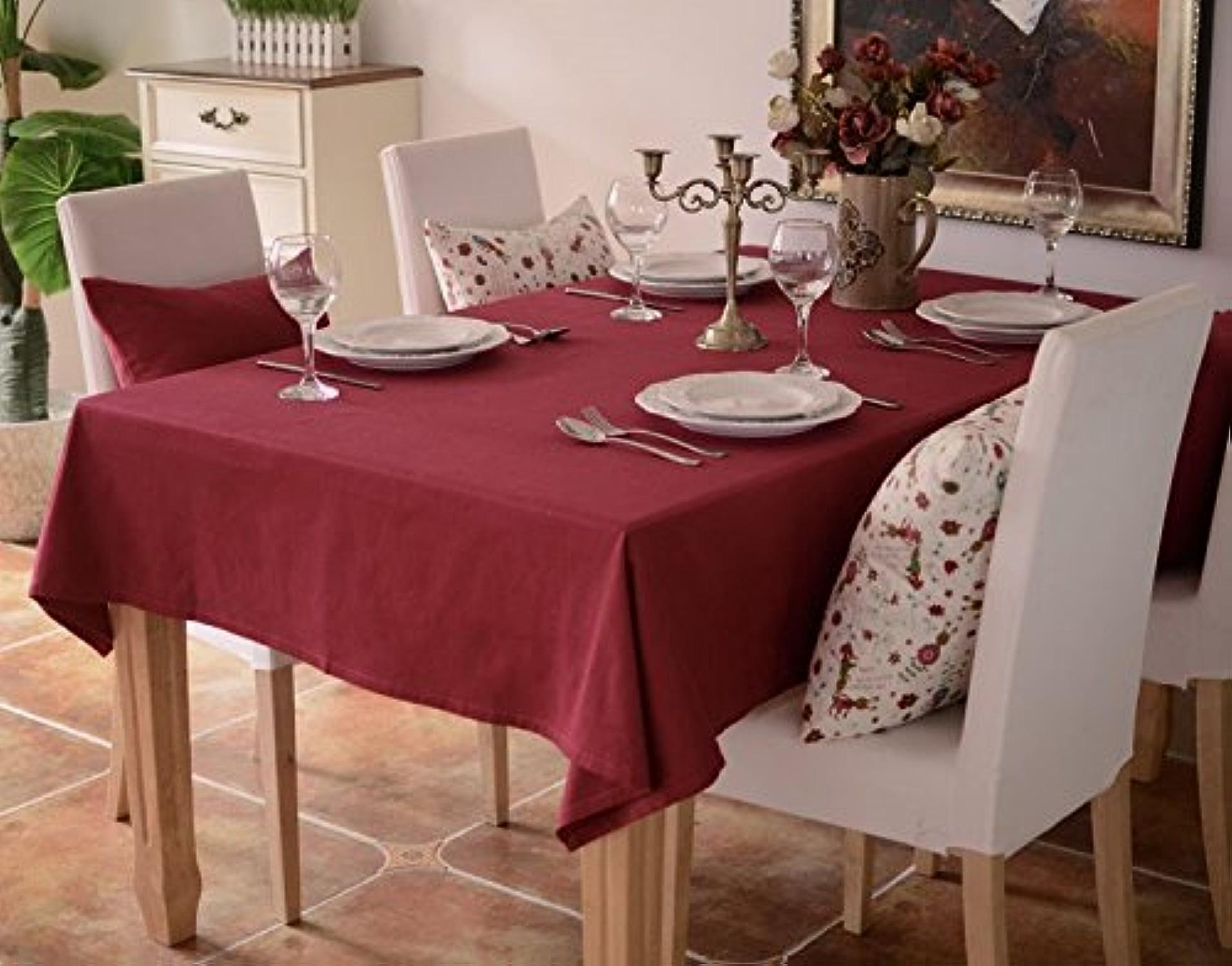 100x 160cm Bordeaux Rouge solide scandinave minimaliste Instagram Nappe en coton et lin à hommeger Jardin pique-nique rectangulaire voitureré respectueux de l'environneHommest couvrant