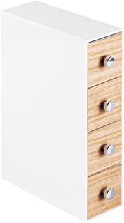 iDesign RealWood Cosmetic Organizer for Vanity Cabinet to Hold Makeup, Beauty Products - 4 Drawers, Flip, White/Light Wood Finish