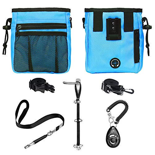D-buy 4-in-1 Dog Training Set, Puppy Training Treats- Dog Treat Training Pouch, Dog Whistle, Dog Doorbells, Dog Clicker, Ideal Gift for First Time Pet Owners, Training Dog Owners (Blue)