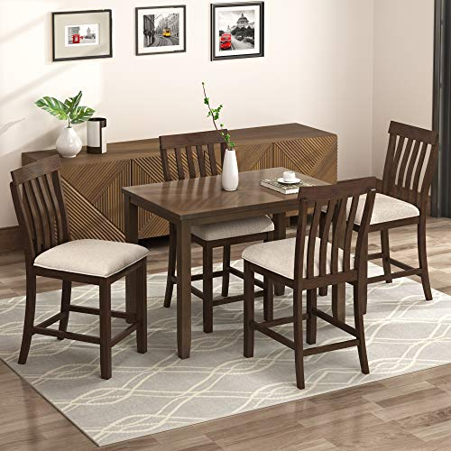 LZ LEISURE ZONE 5-Piece Counter Height Dining Set, Wood Dining Table and 4 Chairs, with Upholstered Seat and Footrest, Yellow Oak