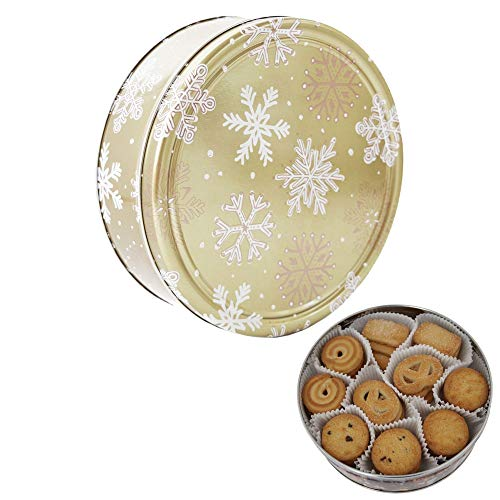 Becky´s Danish Butter Cookies/Butter Kekse - Gebäck in Goldener Dose mit Schneeflocken - 454 g