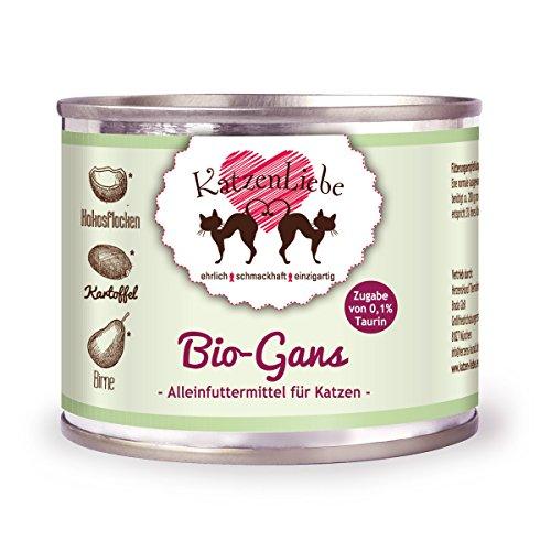 KatzenLiebe Premium Nassfutter Bio-Gans mit Bio-Kartoffel (Gans, 12 x 200g)