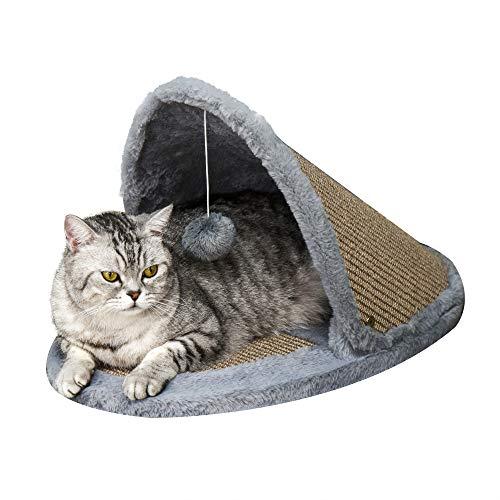 Pawhut Katzenbett, Katzenhaus, mit Plüschkugeln und umkehrbarem Dach, 2-in-1 Kratzbett für Katzen, Sisal, Plüsch, Grau+Braun, 60 x 34 x 32 cm