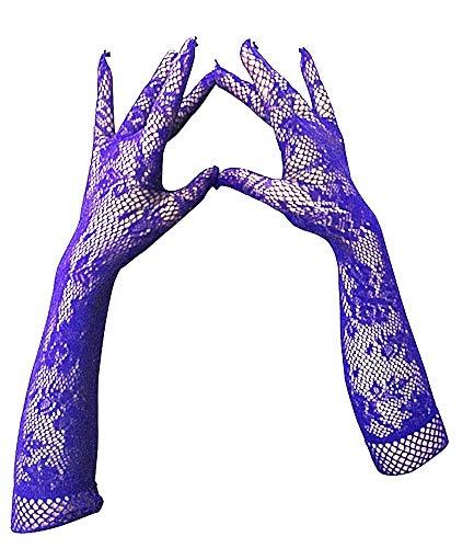 Lange handschoenen dames - vrouw - geborduurd met gaas - elegant - elektrisch blauw - stretch - origineel cadeau-idee