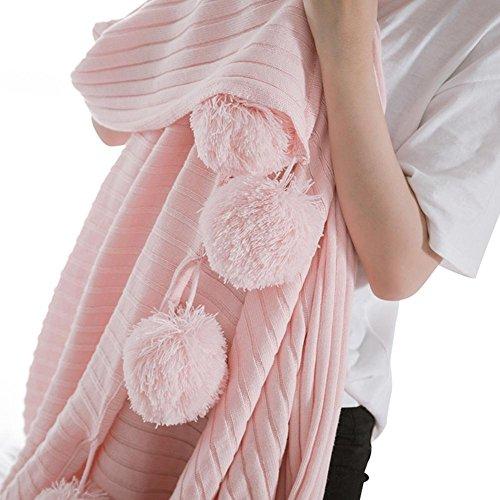 Jeté de lit en coton tricoté Grande pour le salon et canapé de voiture ou au bureau lumière chaude 150*200 cm, Cosy-l, rose, 150*200cm