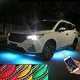 Sunwan - Set di 4 strisce luminose per auto, kit di illuminazione d'atmosfera per esterni (2 x 90 cm + 2 x 120 cm), controllo tramite app