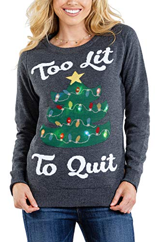 Tipsy Elves Women's Too Lit to Quit Sweater - Light-up Tree Christmas Sweater: L Grey