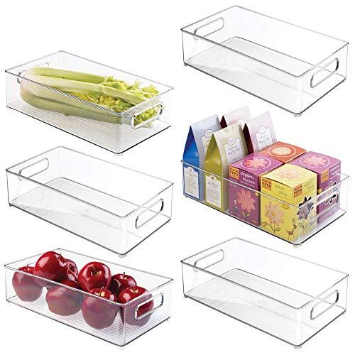 mDesign 6er-Set Vorratsbehälter für Kühlschrank und Gefrierschrank - Lebensmittel Aufbewahrungsbox mit Griffen - praktischer Kühlschrank Organizer ohne Deckel aus Kunststoff - transparent