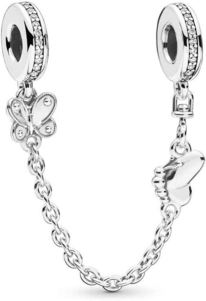 SUNWIDE Butterfly Safety Chain Charms fit Pandora Charms Bracelets