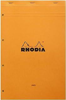 Rhodia 119660C - Bloc-Notes Agrafé N°119 Orange - A4+ - Ligné - 80 Feuilles Détachables Perforation 4 Trous - Papier Clair...
