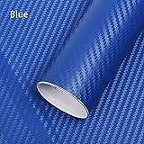Minleer - Adhesivo 3D de fibra de carbono con rasqueta, adhesivo de vinilo para coche, adhesivo de bricolaje con vinilo sin burbujas para liberación de aire, 152 cm x 30 cm, color azul