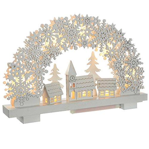 WeRChristmas Flocon de Neige de la voûte Plantaire et Village scène Table Décoration de Noël, Bois, Blanc, 32 cm