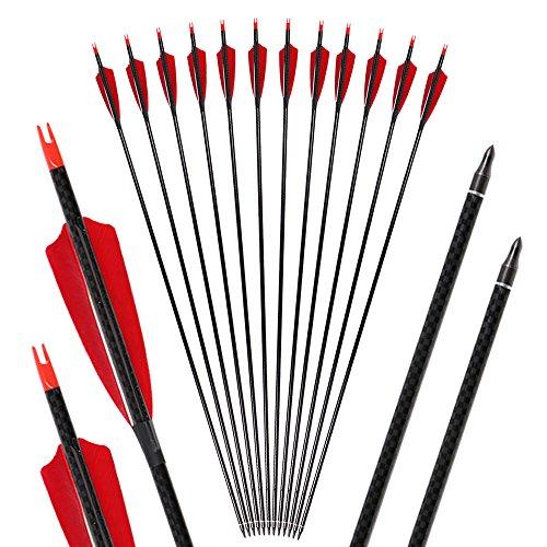 Huntingdoor 32 Zoll Spine 500 Bogenpfeile mit Naturfedern Carbonpfeile Pfeile für bogenschießen Carbon Pfeile Jagd Pfeile für Recurvebogen und Compoundbogen 6/12 Stück (12)