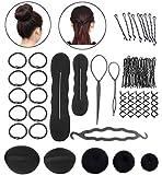 Kungfu Mall - Kit de peluquería con gomas del pelo, pinza, rulos, accesorio para moños y trenzas