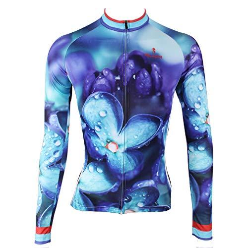 Frauen-Radtrikot Rennradbekleidung Motion Jersey Durchgehender Reißverschluss Langarm-MTB-Tops M