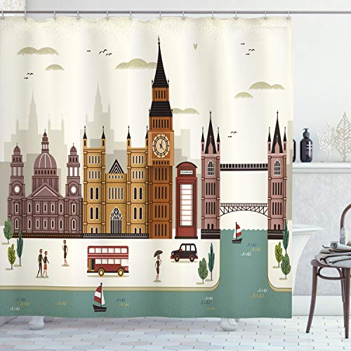 Ambesonne London Shower Curtain, Scenery Famous City England Big Ben Telephone Booth Westminster, Cloth Fabric Bathroom Decor Set with Hooks, 70 Long, Cream