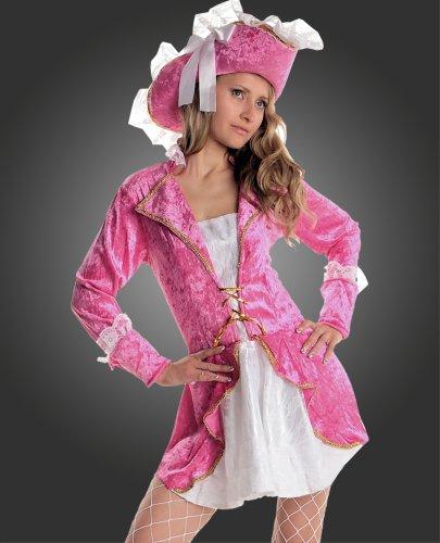 Disfraz de Pirata Caribe, Disfraz de Carnaval para Mujer, Fucsia Rosa Talla 40 42