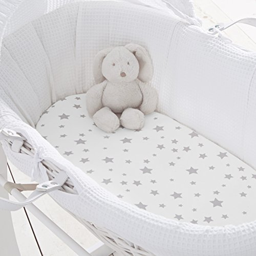 Silentnight Safe Nights Moses Basket Fitted Sheet, Pack of 2, Grey Stars