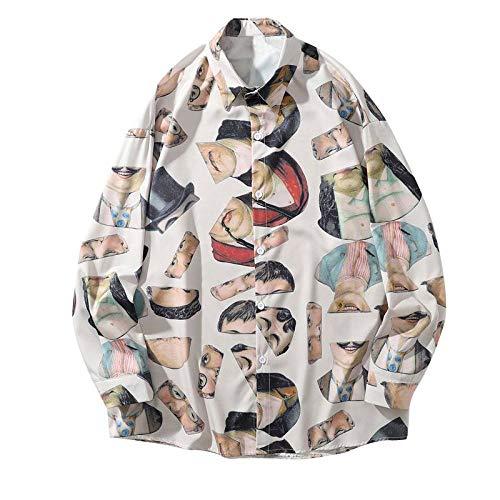 Camisas Manga Larga Hombre,Camisa Holgada De Ajuste Estándar De Moda Retratos Vintage Estampados Blancos Hombres Hawaianos con Botones Y Bolsillos Ideales para Padre Cumpleaños Novio Regalo, M