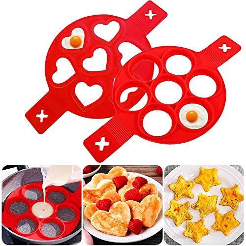 Pfannkuchenform, Nonstick Silikon Ei Ring Pfannkuchen Form mit 7 Löchern, BESTZY Omelett Eierring, Antihaft-Silikonform für Runde Eier, Muffins, Pfannkuchen, rot 2er-Pack