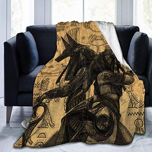 Manta suave de franela de 152 x 122 cm, ligera, de Egipto, Anubis, para sofá, viaje, camping, para niños y adultos
