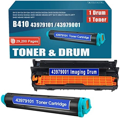 Compatible 1Pack 43979101 Toner and 1Pack 43979001 Drum Replacement for okidata B410 B410d B410dn product image